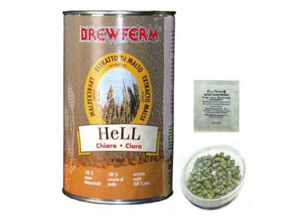 Braupaket Malzextrakt ungehopft Hell mit Hopfen und Hefe zum Bier brauen Pils