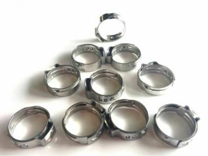 10 Stück 1 Ohr Klemmen Edelstahl 16, 0 - 19, 2mm für 10x16mm Bierschlauch Schellen