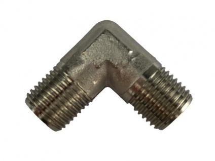 Winkel-Stück 90° 2x 1/4 Zoll Außengewinde Messing vernickelt Adapter Co2