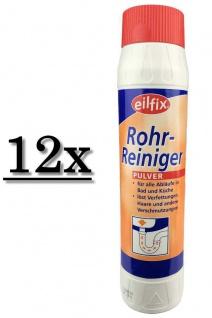 12x Eilfix Rohrreiniger 1kg Pulver Abflussfrei Rohrfrei Siphon Reiniger Gastro