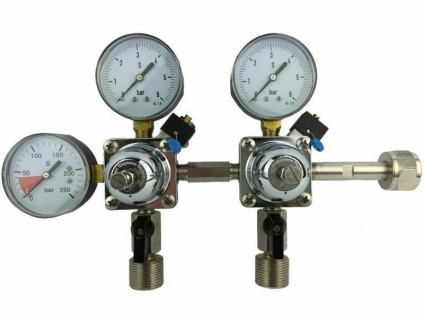 Co2 Doppel-Druckminderer 2x Druckanzeige Manometer 3bar für Bier-Zapfanlage