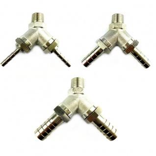 Y-Stück Metall mit 1x 1/4 Zoll AG 2x Tüllen in 4 7 10 mm Adapter Zapfanlage (X)
