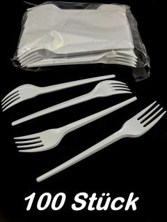 Einweg Gabeln 100 Stück weiß gelegt 16, 5cm Besteck Einweggabeln Plastikgabeln