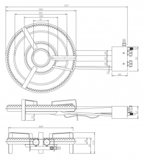 Gasbrenner Gaskocher TT-380 17kw Ring Ø 38 cm für innen zum Bier brauen - Vorschau 2