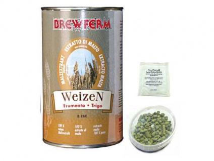 Braupaket Malzextrakt ungehopft Weizen mit Hopfen und Hefe zum Bier brauen