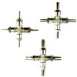 Kreuz-Stück Metall mit 4x Tüllen in 4 7 10 mm Schlauch-Verbinder Zapfanlage (X)