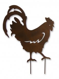Gartenstecker Metall Hahn Huhn Vogel Beet Stecker Rosenkugel Garten Deko Figur