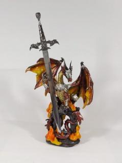 Gothic Deko Figur Drachen mit Schwert Fantasy Mystik Black Dragon Skulptur Skull