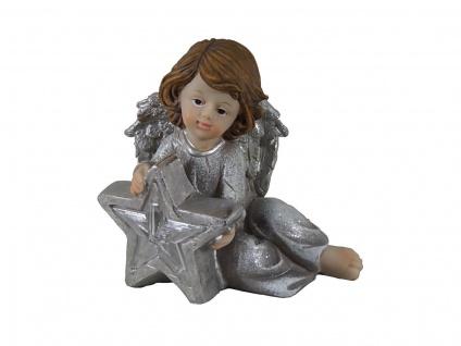 Engel Deko Schutzengel mit LED Stern Engelfigur Skulptur Weihnachts Figur Elfe