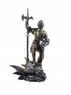 Ritter Kreuzritter Rüstung Lanze Deko Gothic Figur Skulptur Drachen Kopf Töter