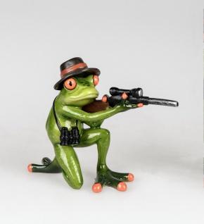 Frosch als Jäger Gewehr Kröte Gecko Lurch Deko Tier Figur Skulptur Froschkönig