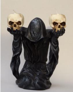 Gothic Deko Figur Sensemann Skelett Skull Totenkopf Todesengel Teelichthalter