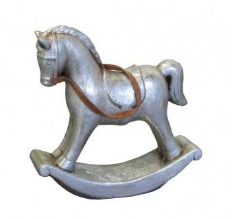 Schaukelpferd Keramik Nostalgie Weihnachts Deko Pferd Ross Tier Figur Skulptur