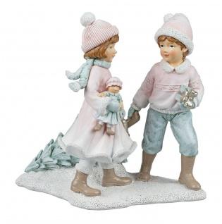 Winterkinder Paar Mädchen Junge Nostalgie Winterkind Deko Kind Skulptur Figur