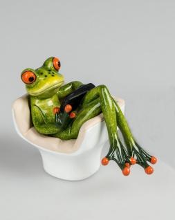 Frosch im Sessel Kröte Lurch Deko Tier Figur Skulptur Froschkönig Laubfrosch