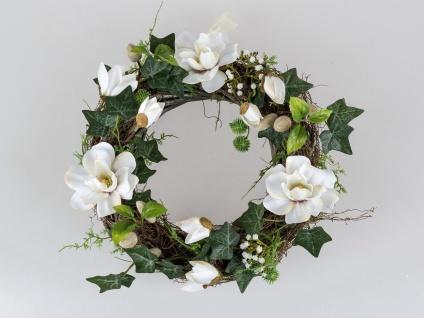 Türkranz Wandkranz Wanddeko Deko Tisch Frühlings Oster Blumen Magnolien Kranz