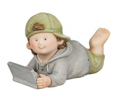 Deko Kind Wichtel Figur Junge Laptop Notebook Garten Skulptur Mädchen Zwerg Gnom