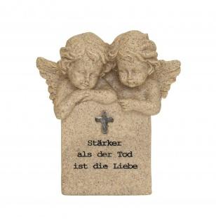 Grabschmuck 2 Engel Grabdeko Gedenkstein Grab Deko Figur Skulptur Stein Kreuz