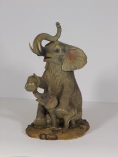 Elefant mit Baby Tierfigur Skulptur Deko Garten Tier Figur Afrika Statue