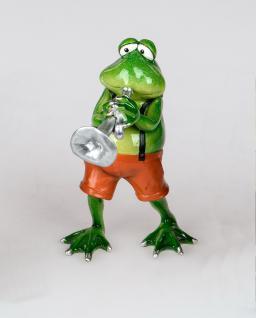 Frosch mit Trompete Kröte Lurch Deko Tier Figur Skulptur Froschkönig Statue