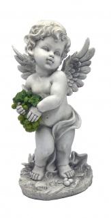Engel Schutzengel Trauben Rebe Deko Figur Skulptur Putte Büste Grabdeko Statue