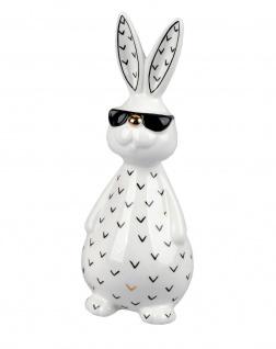 Hase Deko Garten Oster Tier Figur Osterhase Brille Skulptur Ei Kaninchen Statue