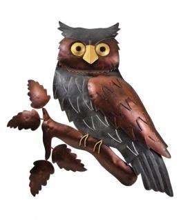 Wanddeko Eule Uhu Vogel Ziervogel Metall Deko Bild Tier Figur Wandschmuck Hänger