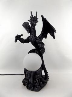 Gothic Deko Figur Drachen Lampe Drache Black Dragon Tisch Leuchte Skulptur Skull