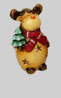 Elch Windlicht Rentier Deko Tier Figur Weihnachts Hirsch Skulptur Teelichthalter