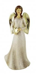 Engel Deko Schutzengel mit Herz Weihnachtsengel Skulptur Stern Figur Elfe Fee