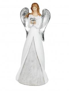 Engel Schutzengel mit Herz Engelfigur Skulptur Weihnachtsengel Deko Figur Statue