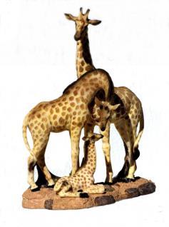 Giraffe mit Baby Kind Tierfigur Giraffen Skulptur Deko Garten Tier Figur Statue