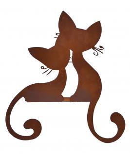 Katzen Paar Kantenhocker Katze Metall Edelrost Deko Garten Tier Figur Skulptur
