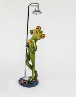 Frosch in Dusche Kröte Gecko Lurch Deko Tier Figur Skulptur Froschkönig