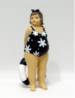 Frau im Badeanzug Mollige Dicke Dame Lady Rubens Deko Retro Figur Schwimmring