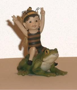 Bienen Elfe auf Frosch Tierfigur Dekofigur Dekotier