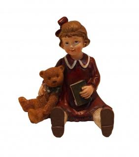 Winterkind Mädchen mit Bär Teddy Weihnachts Nostalgie Deko Kinder Figur Junge