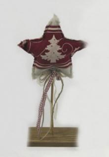 Stoff Stern auf Holzständer Tanne Deko Holz Weihnachtsherz Tannenbaum Schleife