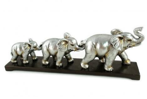 Elefant 3 Elefanten Platte Deko Artikel Garten Tier Figur Skulptur Afrika Statue