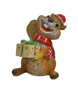 Eichhörnchen mit Mütze Geschenk Deko Tier Figur Weihnachts Skulptur Eichkatzerl