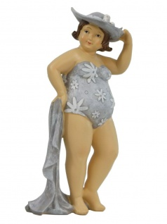 Frau im Badeanzug Mollige Dicke Dame Lady Rubens Deko Retro Figur Artikel Hut