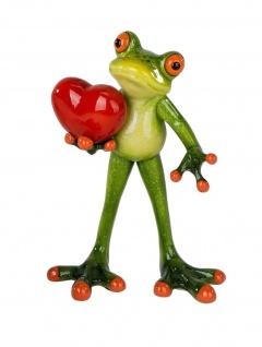 Frosch mit Herz Kröte Unke Lurch Deko Tier Figur Skulptur Froschkönig Laubfrosch