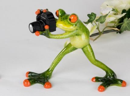 Frosch mit Kamera Kröte Lurch Deko Tier Figur Skulptur Froschkönig Laubfrosch