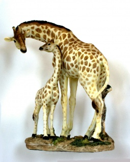 Giraffe mit Baby Kind Giraffen Afrika Skulptur Deko Garten Tier Figur Statue
