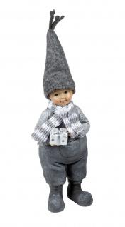 Winterkind Junge mit Filz Mütze Schal Winter Deko Kinder Skulptur Figur Mädchen