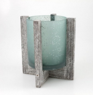 Windlicht im Holzsockel Glas Vase Kerzenhalter Deko Teelichthalter Leuchter