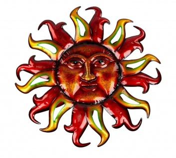 Wanddeko Sonne Metall Wandbild Garten Deko Wand Figur Skulptur Wandschmuck