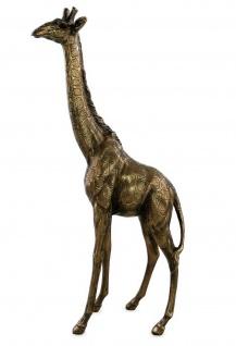 Deko Giraffe Afrika Skulptur Garten Zoo Tier Figur Statue Objekt antik gold