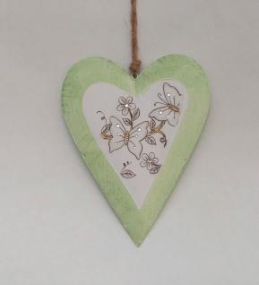 Deko Herz Metall mit Schmetterling Blume Fenster Tür Hänger Landhaus Vintage