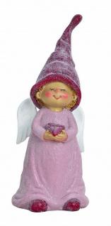 Wichtel als Engel mit Herz Deko Figur Mädchen Kind Skulptur Zwerg Troll Gnom